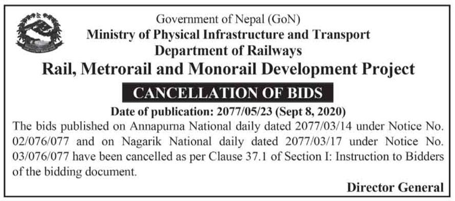 Railway Bid Cancelled