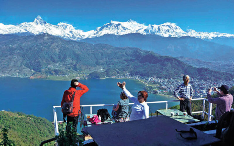 tourists in pokhara